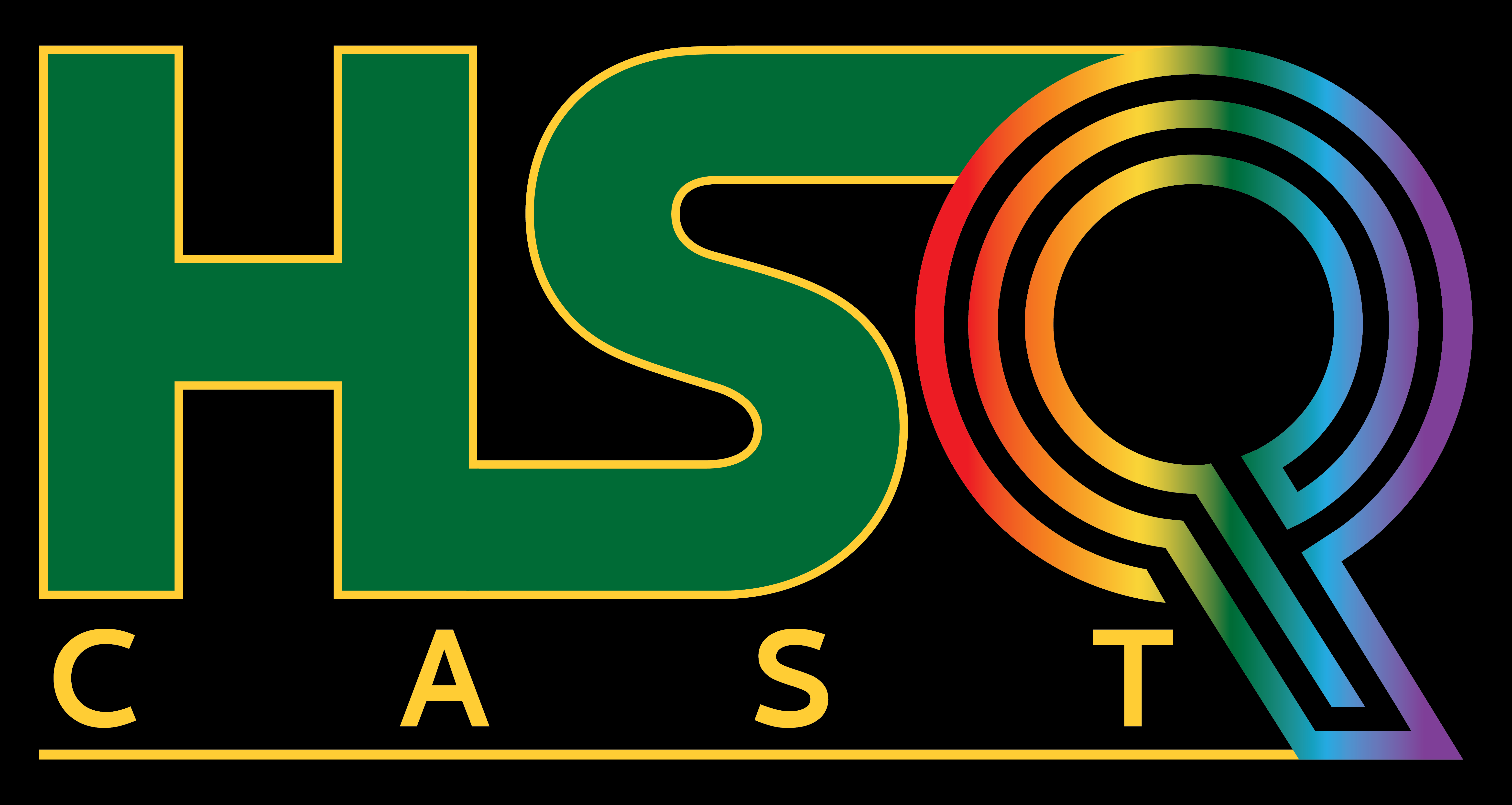 HSQ logo in humboldt green & gold and rainbow colors w/black background